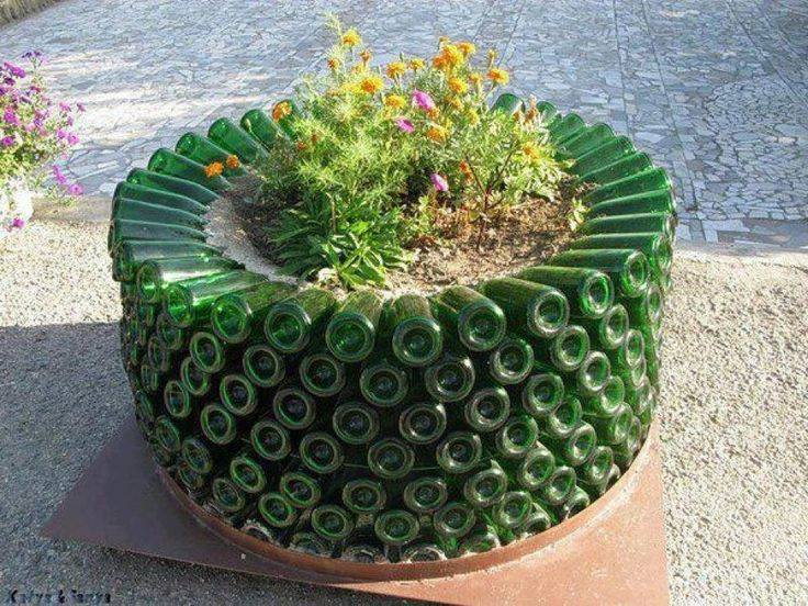 upcycle glass bottle ideas planter