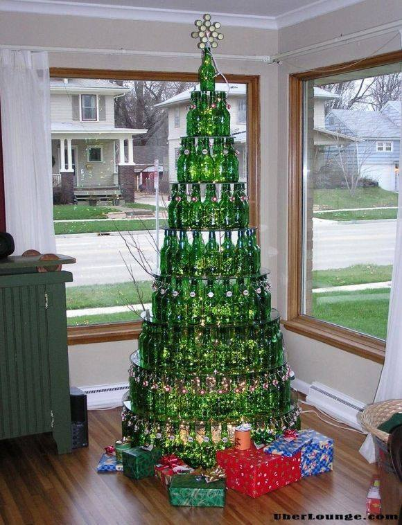 upcycle glass bottle ideas christmas tree