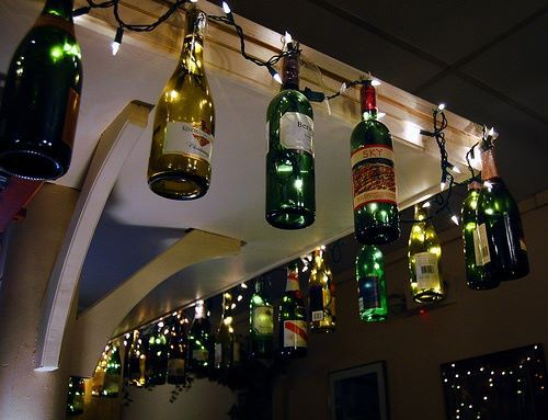 upcycle glass bottle ideas fairy lights