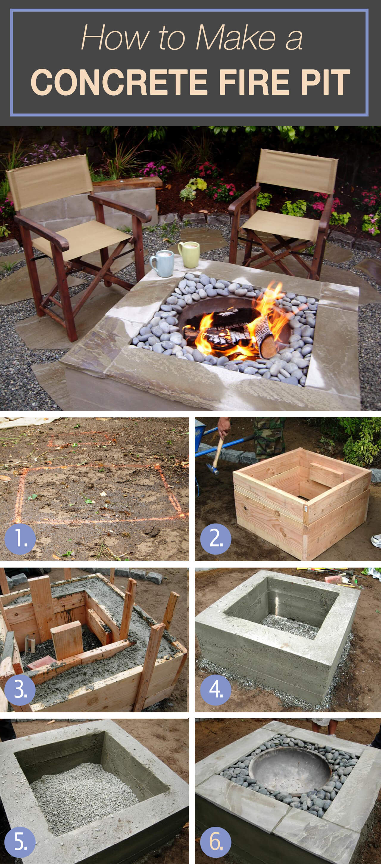 outdoor DIY fire pit ideas designs how to build the handy mano manomano square concrete