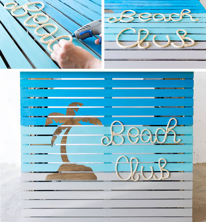 manomano mano mano the handy mano pallet bar wood pallet projects diy do it yourself palm tree painted vinyl stickets wood stain colourful