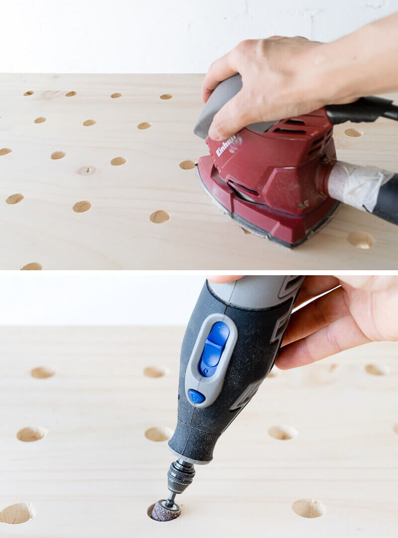 manomano mano mano the handy diy do it yourself projects build make do pegboard drilling drill holes wood sanding sander