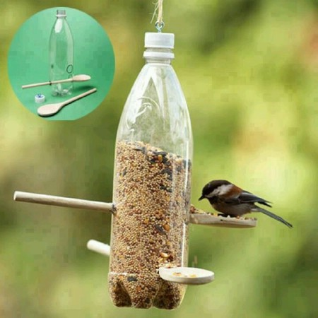 8 Simple Ways to Make a DIY Bird Feeder home made bird feeders easy simple make your own handy mano manomano plastic bottle recycling recycle