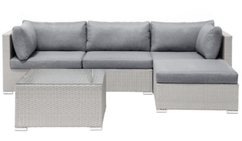 4 Seater Rattan Garden Corner Sofa Set Grey SANO II from Beliani for your outdoor living room
