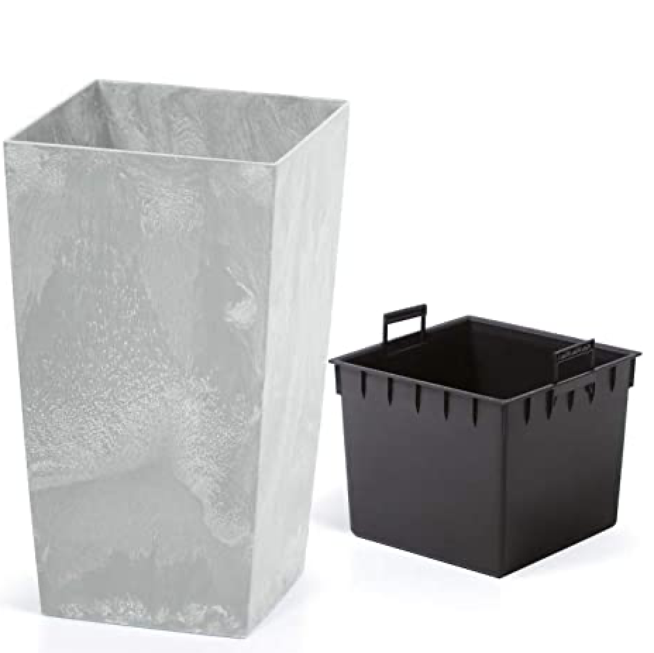 Planter Flower Pot Concrete Design Garden Flower Balcony 26 L | 49 L | 91 L Grey, 26 Liter by Deuba