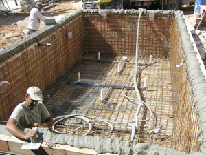 Install the rebars around your pool area