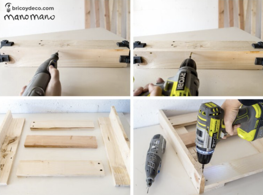 Join the legs and sides of the pallet shoe rack
