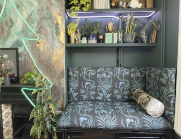 DIY alcove seating and shelving inspiration
