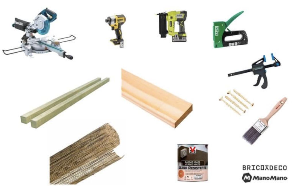 Materials for the DIY tiki bar project