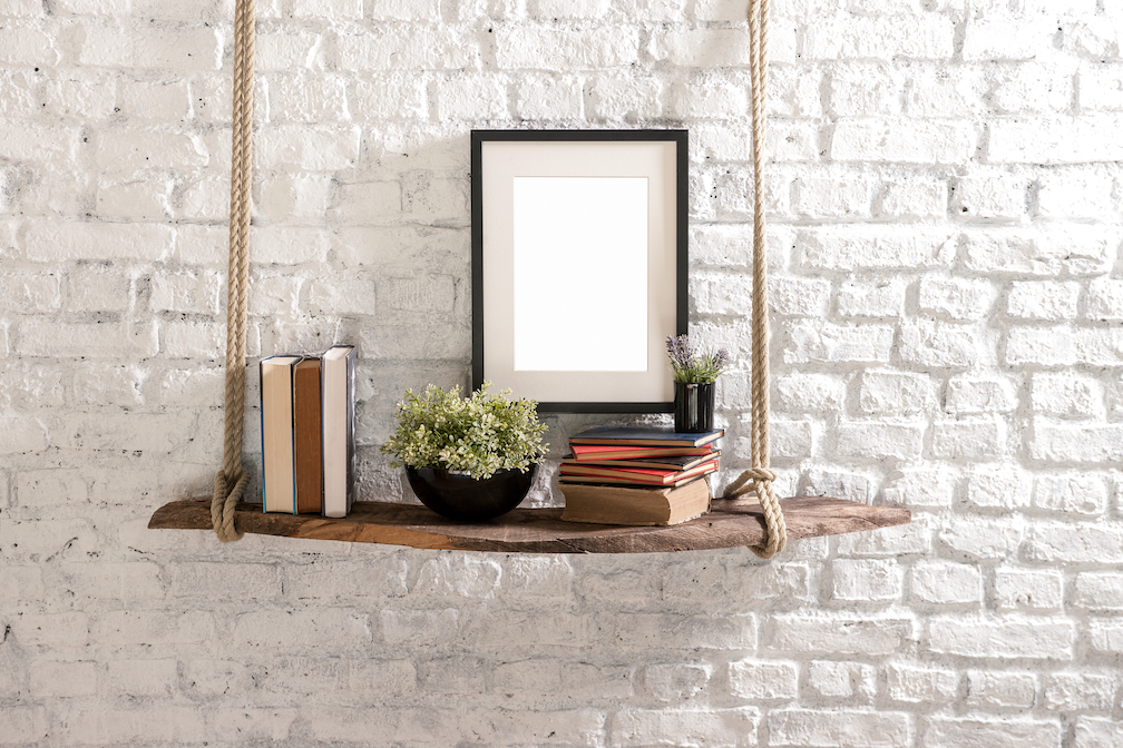 DIY your own shelfie with some wooden planks and rope